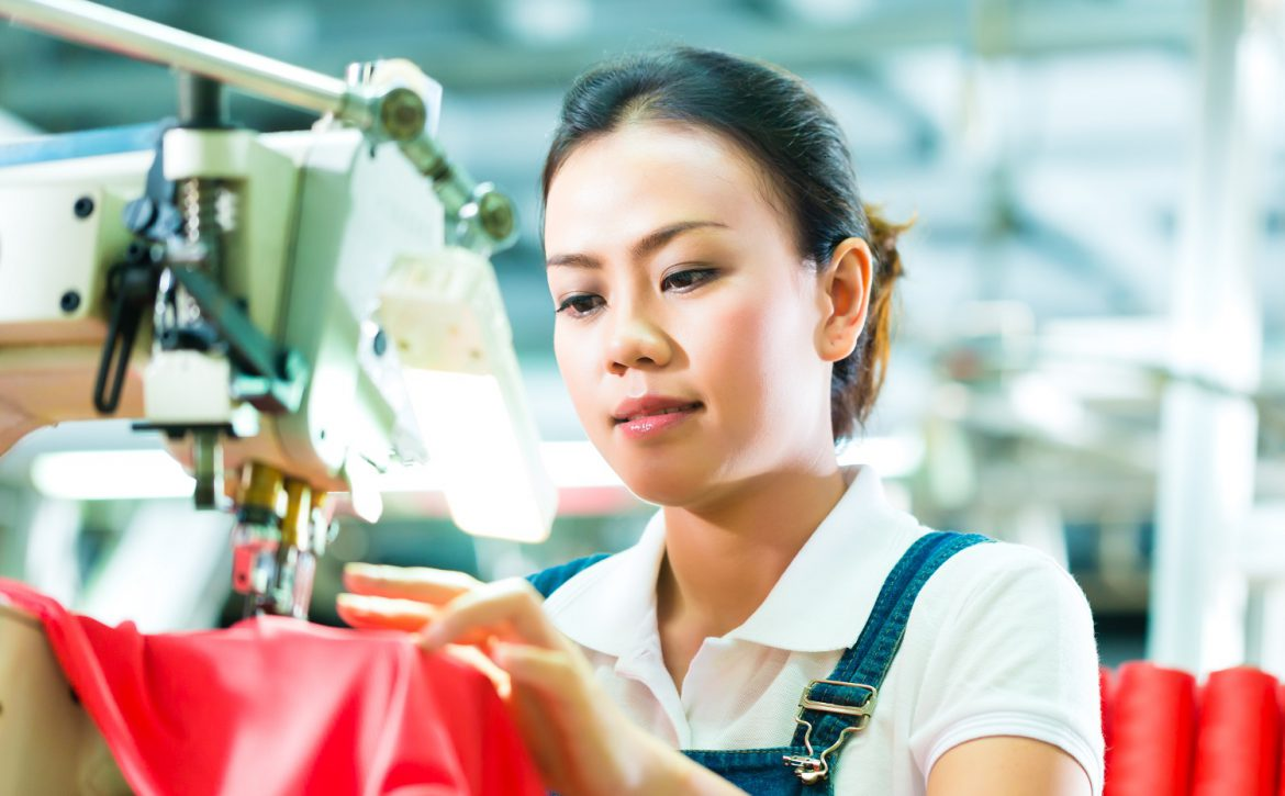 Seamstress in a chinese textile factory