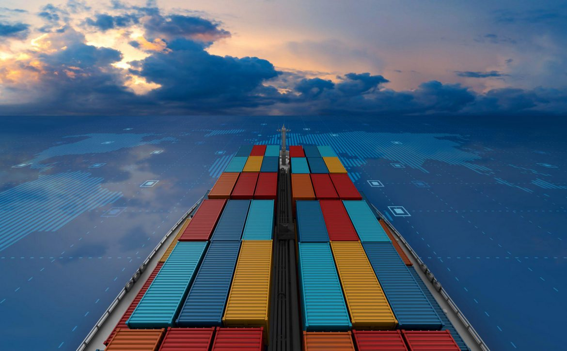 Container cargo ship in import export business logistic on digit