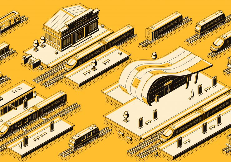 Train station with locomotive isometric vector set