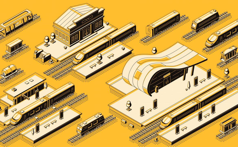 Train station with locomotive isometric vector set