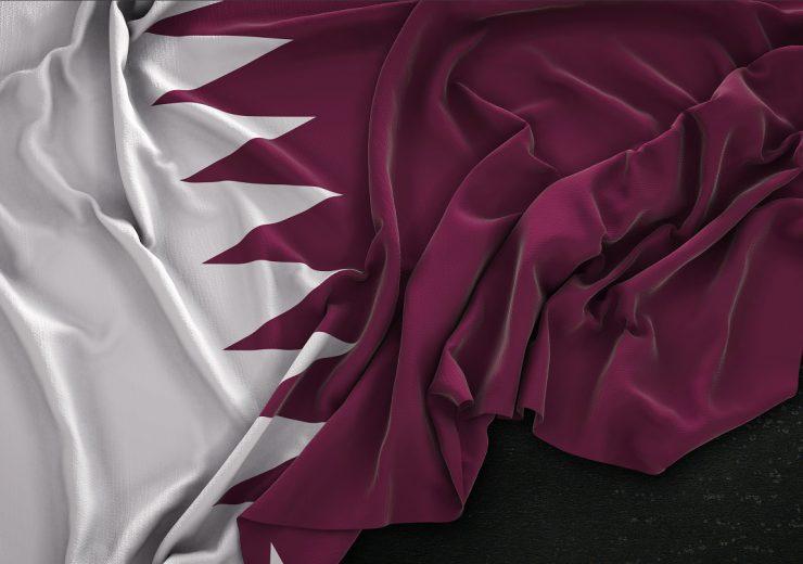 Qatar Flag Wrinkled On Dark Background 3D Render