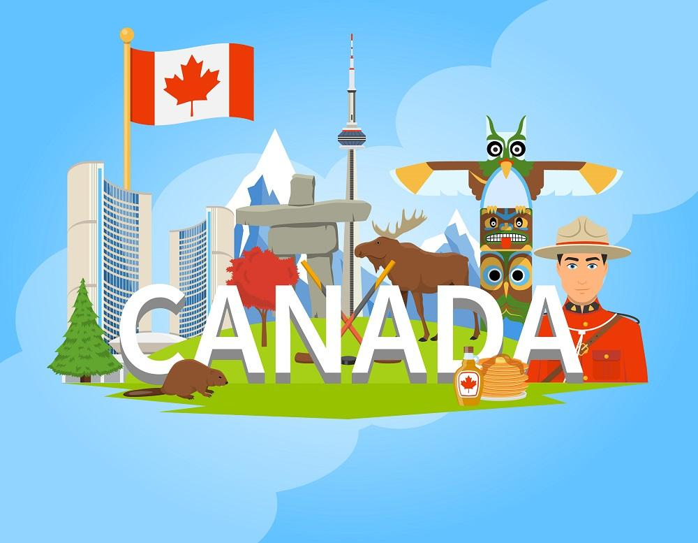 Canadian National Symbols Composition Flat POster