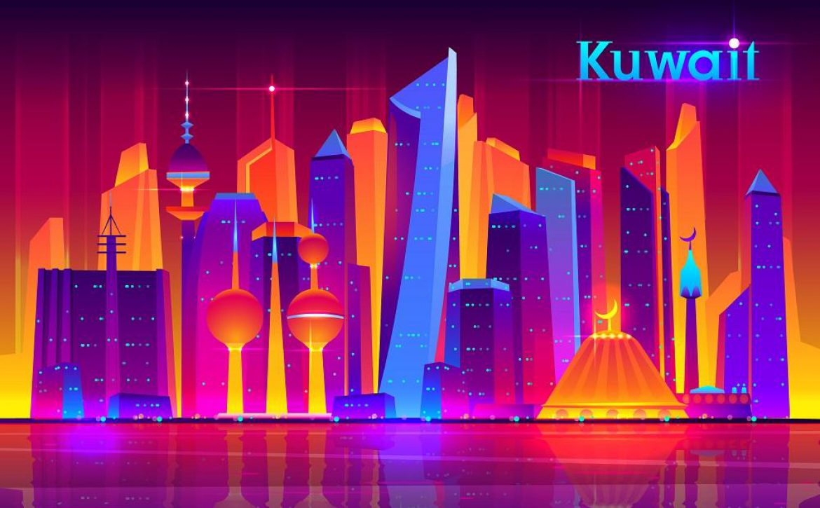 Kuwait city future architecture vector concept