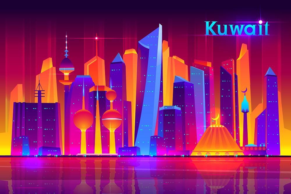 Kuwait city future architecture vector concept