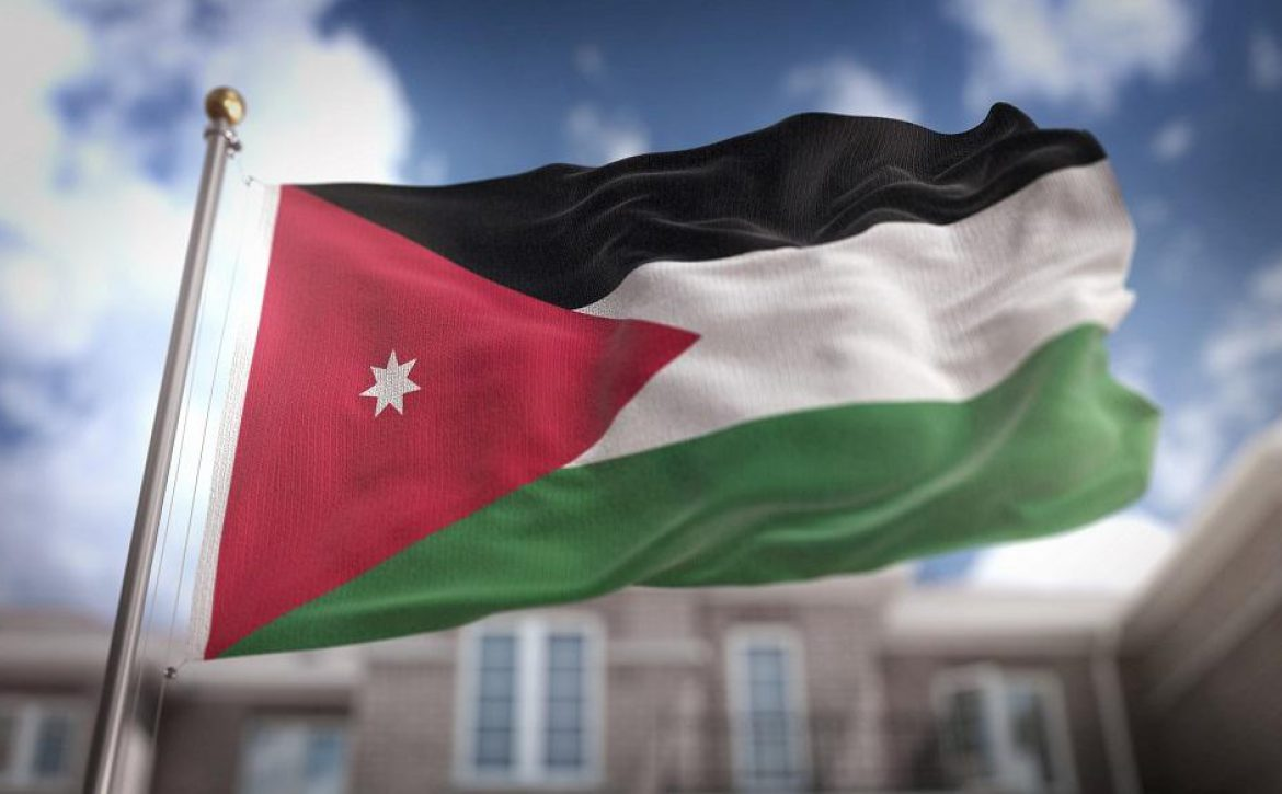 Jordan Flag 3D Rendering on Blue Sky Building Background