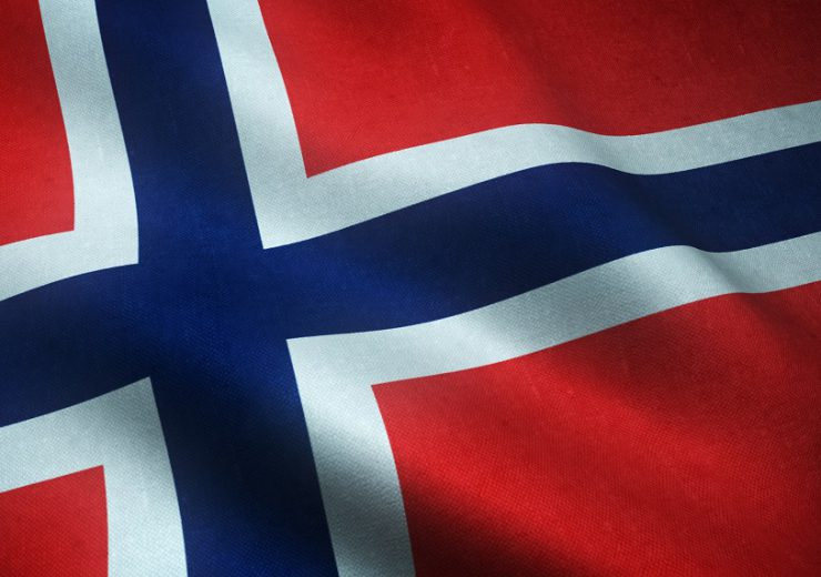 Closeup shot of the waving flag of Norway with interesting textures