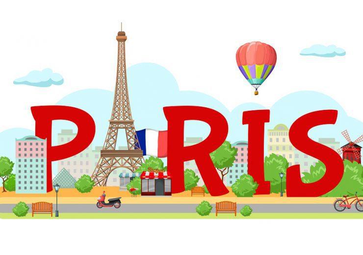 Paris City Sign Composition