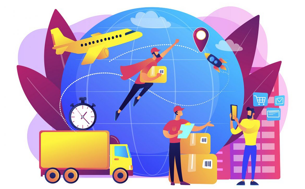 Express delivery service concept vector illustration.