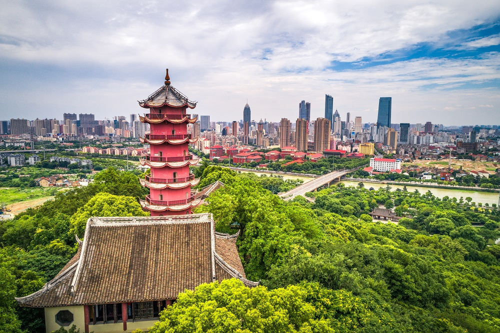 chinese old tower on the mountain