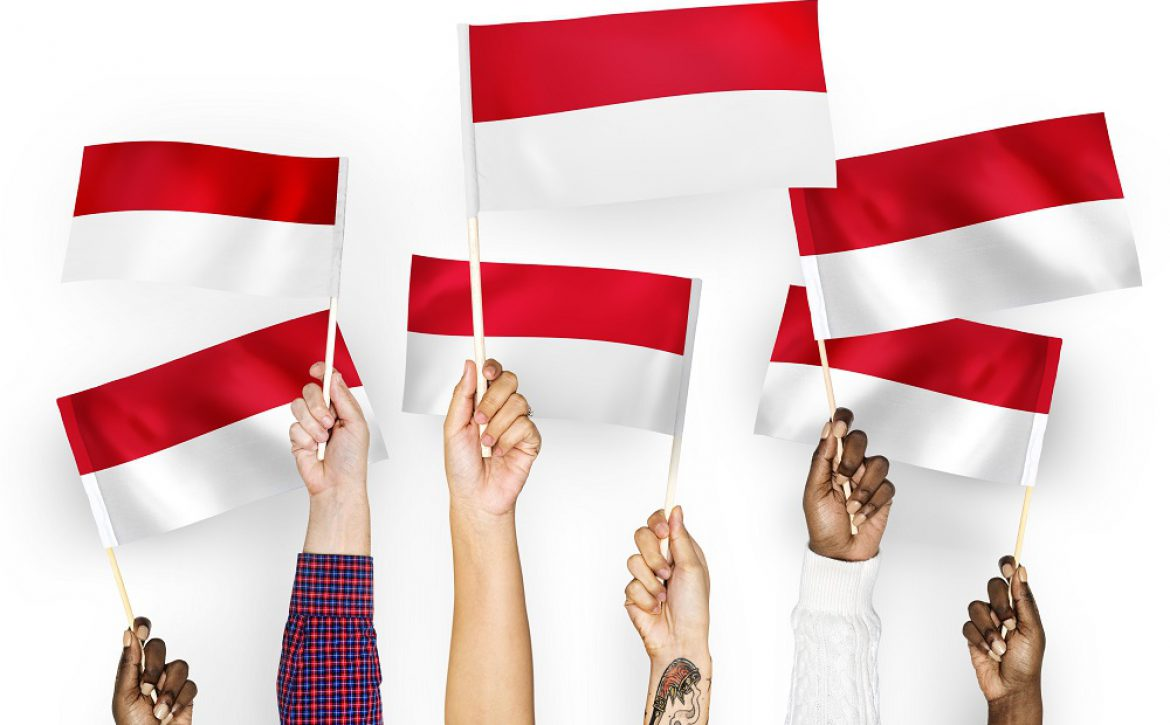Hands waving flags of Indonesia