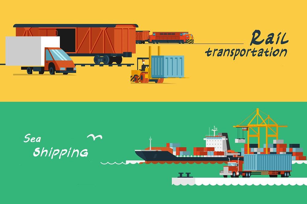 Logistics flat horizontal banners set