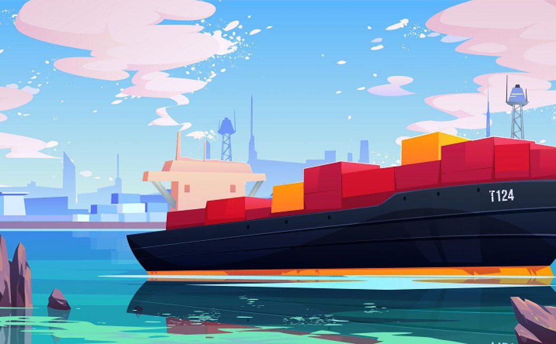 Cargo ship in sea port dock, industrial vessel