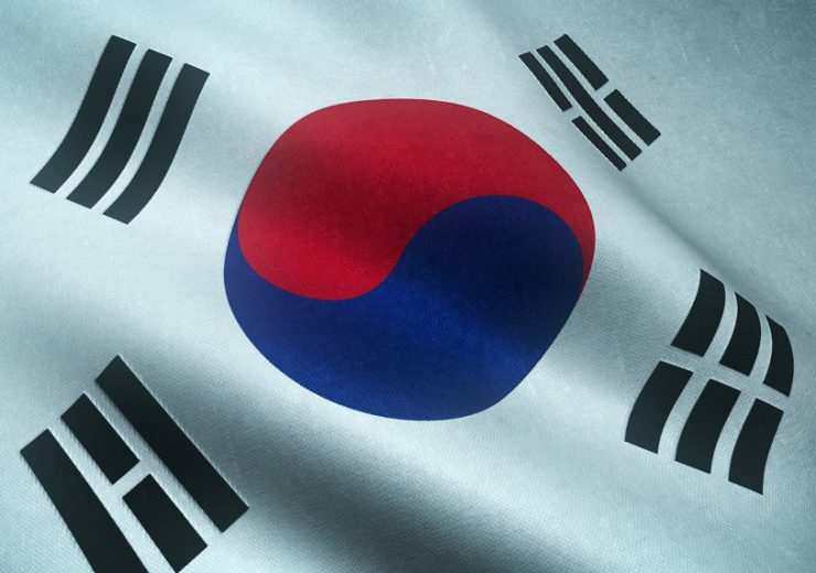 Closeup shot of the waving flag of South Korea with interesting textures