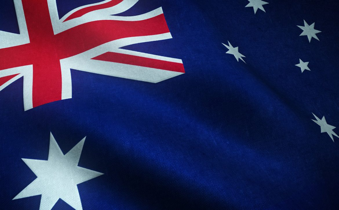 Closeup shot of the waving flag of Australia with interesting textures