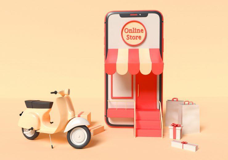 3D Illustration. Online shopping concept.