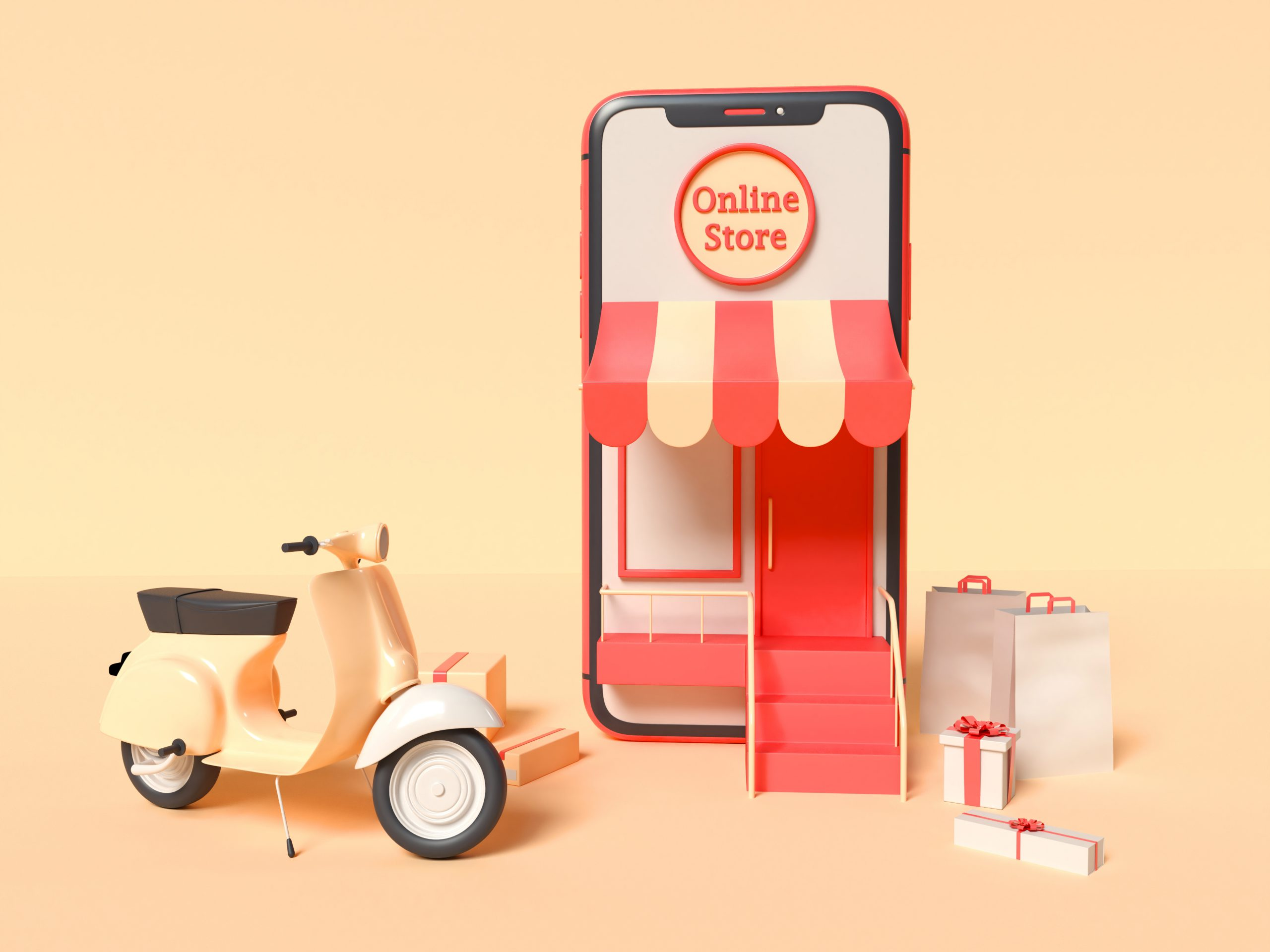 3D Illustration. Online shopping concept.