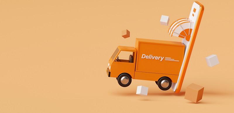 E-commerce concept, Delivery service on mobile application, Tran