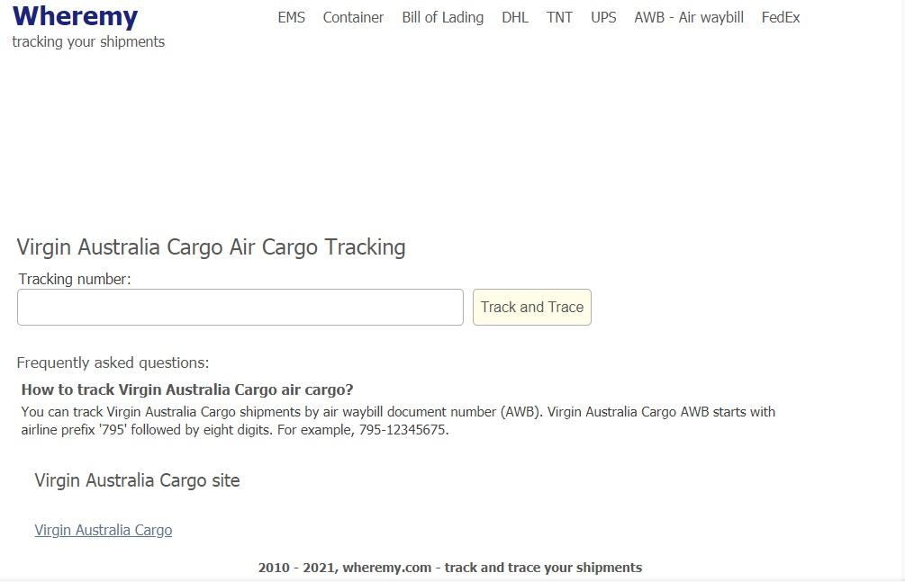 Air Cargo Tracking (Virgin Australia)